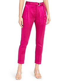 INC Satin Belted Ankle Pants, Created for Macy's