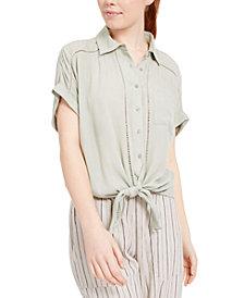 Planet Gold Juniors' Tie-Front Button-Up Shirt