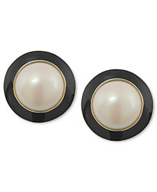 Carolee Earrings, 12k Gold-Plated White Glass Pearl Black Button Earrings