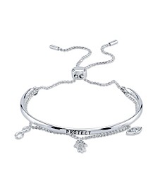 """Protect"" Cubic Zirconia Multi-Charm Fine Silver Plated Bolo Bracelet"