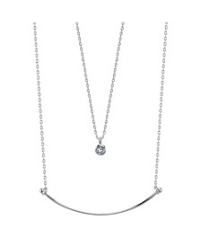 Fine Silver Plated Crescent Bar and Bezel Set Cubic Zirconia Duo Necklace