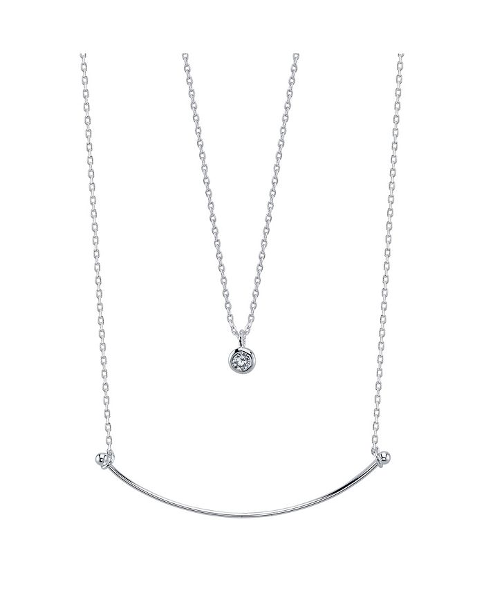 Unwritten - Fine Silver Plated Crescent Bar and Bezel Set Cubic Zirconia Duo Necklace