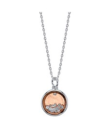 "Two-Tone Fine Plated Silver ""Friends Forever"" Crystal Shaker Pendant Necklace"