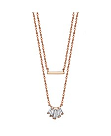 Rose Gold Flash Plated Cubic Zirconia and Bar Layered Pendant Necklace