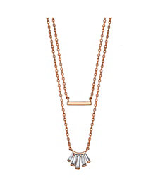 Unwritten Rose Gold Flash Plated Cubic Zirconia and Bar Layered Pendant Necklace