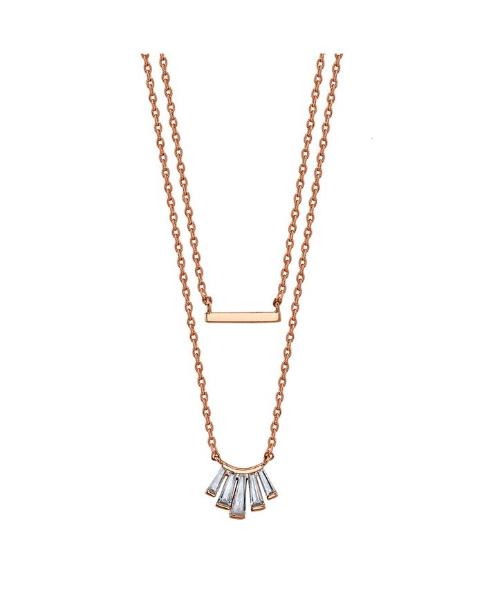 Unwritten - Rose Gold Flash Plated Cubic Zirconia and Bar Layered Pendant Necklace