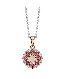 Rose Gold Flash Plated Clear and Peach Pink Cubic Zirconia Pendant Necklace by David Tutera Everyday Celebrations