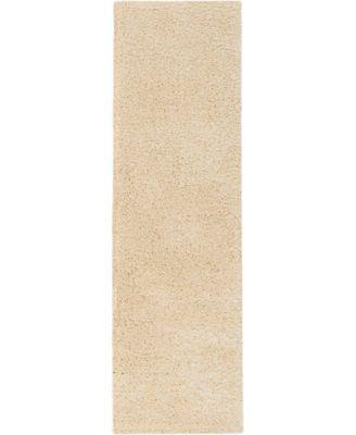 "Cali Shag CAL01 Cream 2'2"" x 9'10"" Runner Rug"