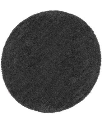 Cali Shag CAL01 Charcoal 4' Round Area Rug