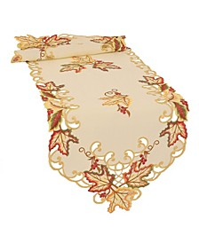 Moisson Leaf Embroidered Cutwork Fall Table Runner