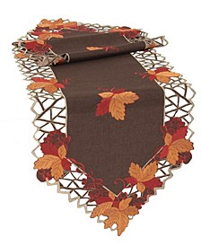 Harvest Hues Embroidered Cutwork Fall Table Runner