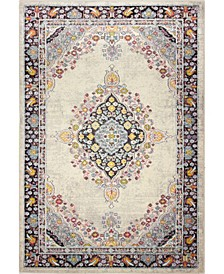 "Meza D113 Ivory and Navy 3'6"" x 5'6"" Area Rug"