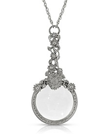 Silver-Tone Magnifying Glass with Flower Necklace