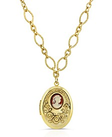 Carnelian Cameo with Flowers Oval Locket Necklace