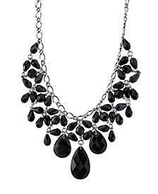 Silver-Tone Black Faceted Statement Bib Necklace