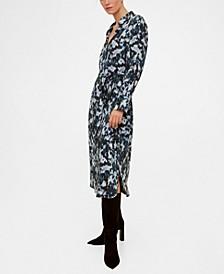 Abstract-Print Shirt Dress