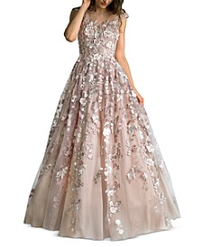 Embroidered Floral-Appliqués Illusion Gown