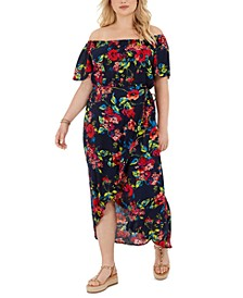 Trendy Plus Size Off-The-Shoulder Floral-Print High-Low Dress