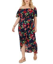 Trendy Plus Size Off-The-Shoulder Floral-Print High-Low Dress