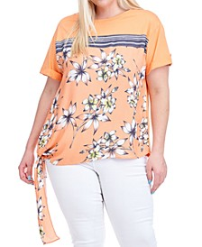 Plus Size Floral-Print Side-Tie Top