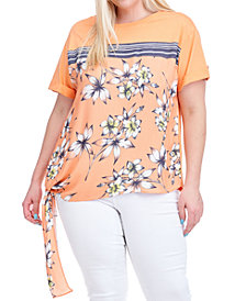 Fever Plus Size Floral-Print Side-Tie Top