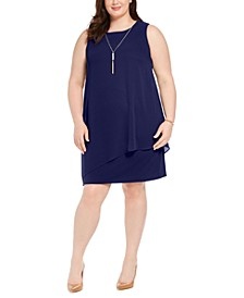 Petite Asymmetrical-Overlay Necklace Dress, Created for Macy's