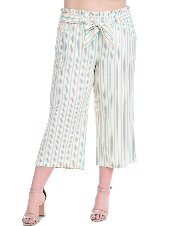 Fever Plus Size Striped Cropped Pants