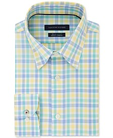 Men's Slim-Fit Non-Iron THFlex Supima® Stretch Multi-Yellow Check Dress Shirt
