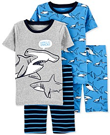 Little & Big Boys 4-Pc. Shark-Print Cotton Pajamas Set