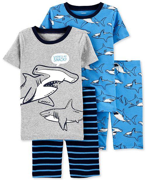 Carter's Little & Big Boys 4-Pc. Shark-Print Cotton Pajamas Set