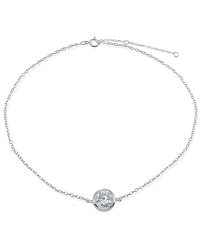 Giani Bernini - Cubic Zirconia Round Bezel Stone Ankle Bracelet in Sterling Silver or 18K Gold-Plated Sterling Silver