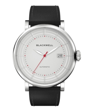 Gray Dial with Silver Tone Steel and Black Leather Watch 44 mm