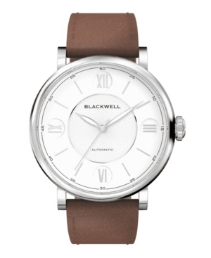 White Dial with Silver Tone Steel and Brown Leather Watch 44 mm