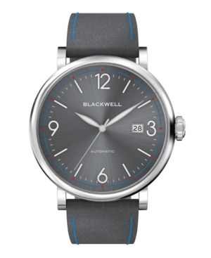 Sunray Gray Dial with Silver Tone Steel and Gray Leather Watch 44 mm