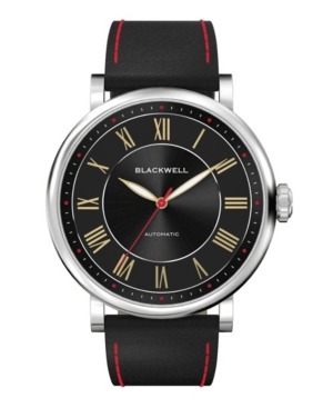 Sunray Black Dial with Silver Tone Steel and Black Leather Watch 44 mm