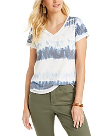 Tie-Dyed V-Neck Burnout Top, Created for Macy's