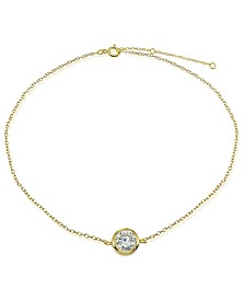 Cubic Zirconia Round Bezel Stone Ankle Bracelet in Sterling Silver or 18K Gold-Plated Sterling Silver