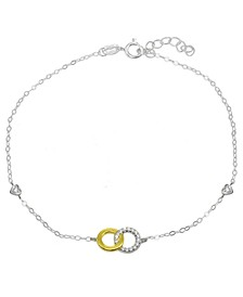 Cubic Zirconia Pavé Interlocking  Circles Ankle Bracelet in Sterling Silver or Two Tone Sterling Silver & 18K Gold-Plated Sterling Silver