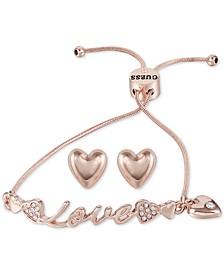 Rose Gold-Tone Pavé Love Slider Bracelet & Heart Stud Earrings Set