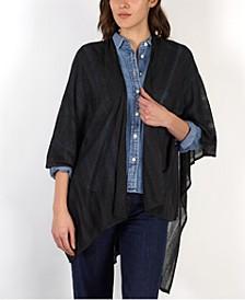 로렌 랄프로렌 Lauren Ralph Lauren Sparkle Textured Stripe Ruana,Black