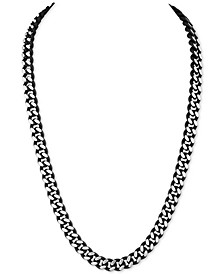 "Men's Curb Link 22"" Chain Necklace in Black Enamel and Stainless Steel, Created for Macy's"