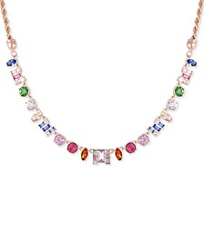 """Gold-Tone Multicolor Crystal Frontal Necklace, 16"""" + 2"""" extender"""