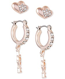 Rose Gold-Tone 2-Pc. Set Crystal Heart Stud & Huggie Hoop Earrings
