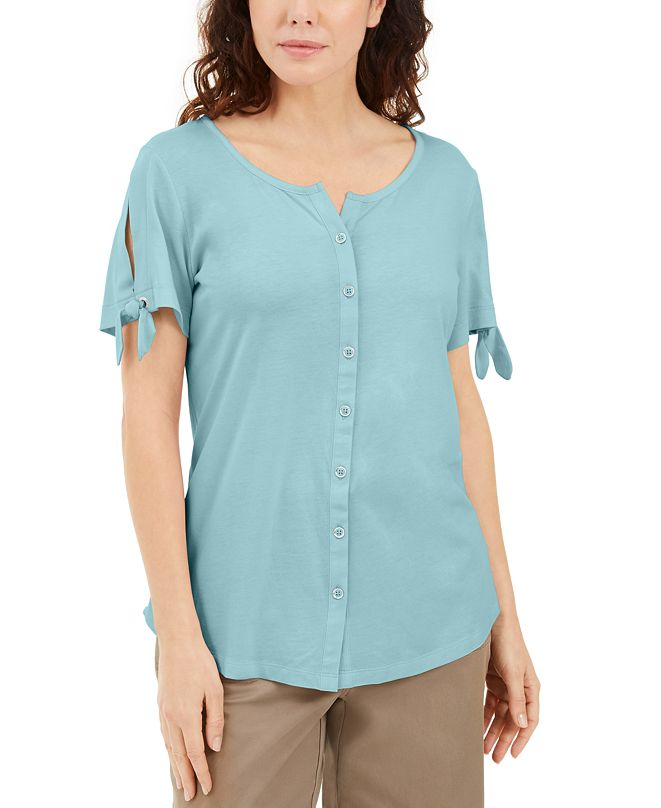 Karen Scott Button-Front Top, Created for Macy's