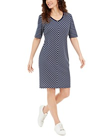Mitered-Stripe Dress, Created for Macy's