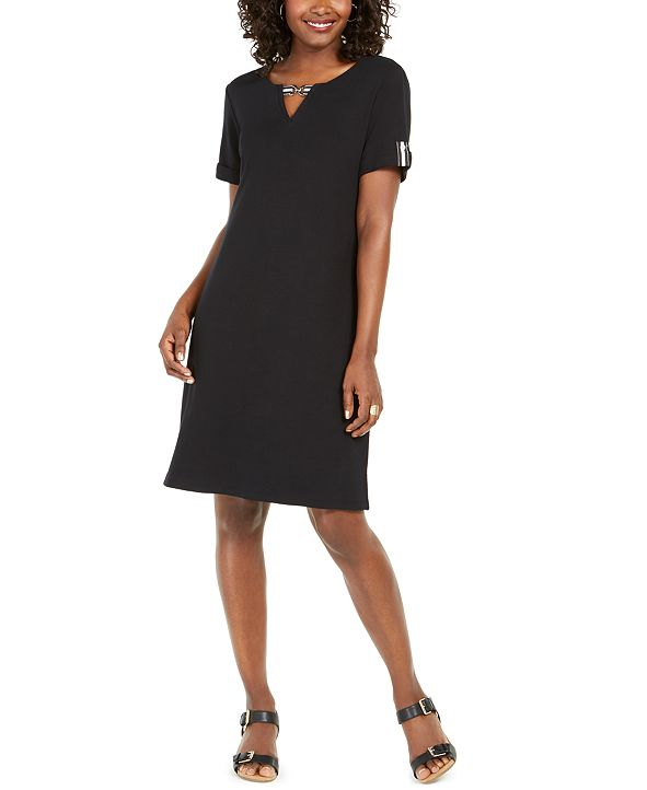 Karen Scott Petite Cotton Split-Neck Dress, Created for Macy's