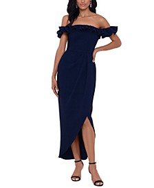 Ruffle Off-The-Shoulder Gown