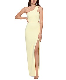One-Shoulder Scuba Crepe Gown