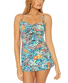 Printed D-Cup Tankini Top & Swim Skirt