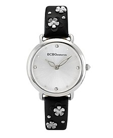 Ladies 3 Hands Slim Black Synthetic Leather Strap Watch, 34 mm Case